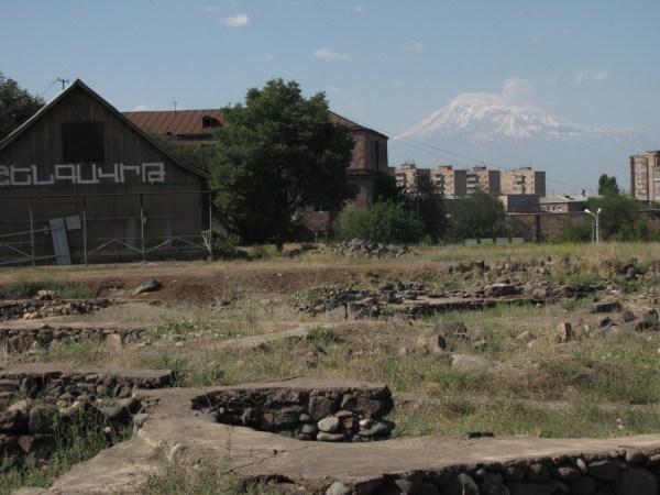 Shengavit Preserve, museum, Mt. Ararat in background