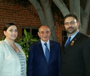 Ms. Christine Aghakhani, ACA Communications Director, Artsakh President Bako Sahakyan and ACA Chair Mr. Sevak Khatchadorian