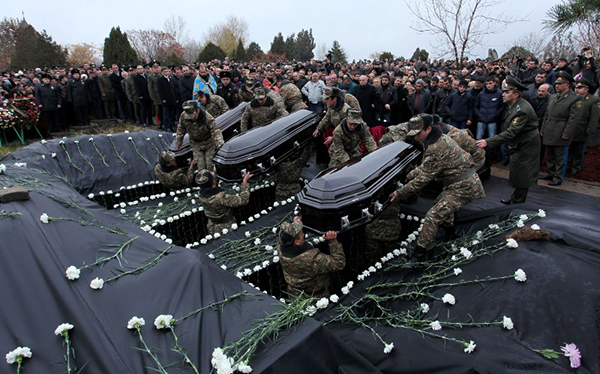 Mourning Rally and funeral at Yerablur military pantheon