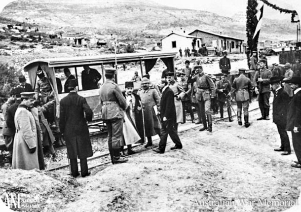 Ottoman Minister of War Enver at rail station in Taurus Mountains