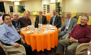 Secretary Harry Sarafian joins Ararat Home Trustees at their monthly dinner meeting From left to right: Ron Nazeley, Dr. Roy Martinian, Shahe Boyadjian, Joseph Kanimian, Dr. Sarafian, Peter Darakjian, Armen Hampar