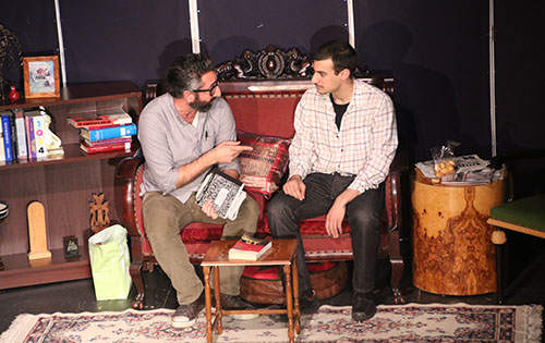 Journalist Alex (played by Haig Hovnanian) shares a scene with his friend Soghomon (played by Raffi Wartanian)
