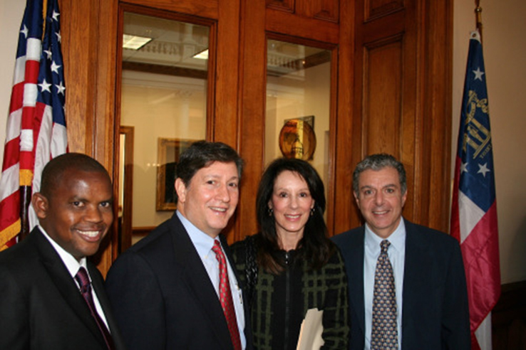 L-R: Martin Ngamije, Rwandan community of Atlanta, Harvey Rickles, President of The Jewish Community Relations of Atlanta, Melanie Nelkin, Chair of The Georgia Coalition to Prevent Genocide and Dr Vahan Kassabian, Georgia Chair of The Armenian Assembly of America
