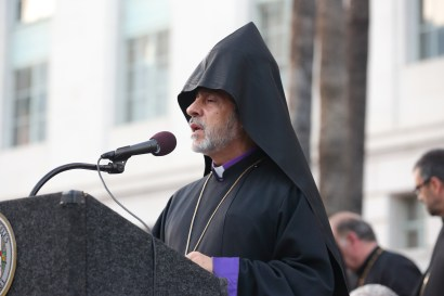 H.E. Archbishop Hovnan Derderian Primate of the Western Diocese of Armenian Church of North America - Courtesy ARKA Photo