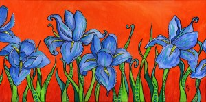 Blue Irises | Original Art by Miles Davis | Massive Burn Studios