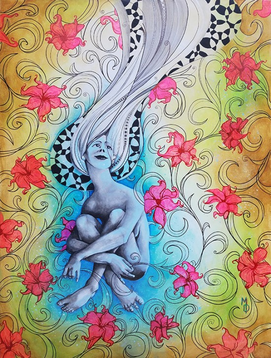 Original painting of female amid pink flowers | Original painting by Miles Davis | Massive Burn Studios