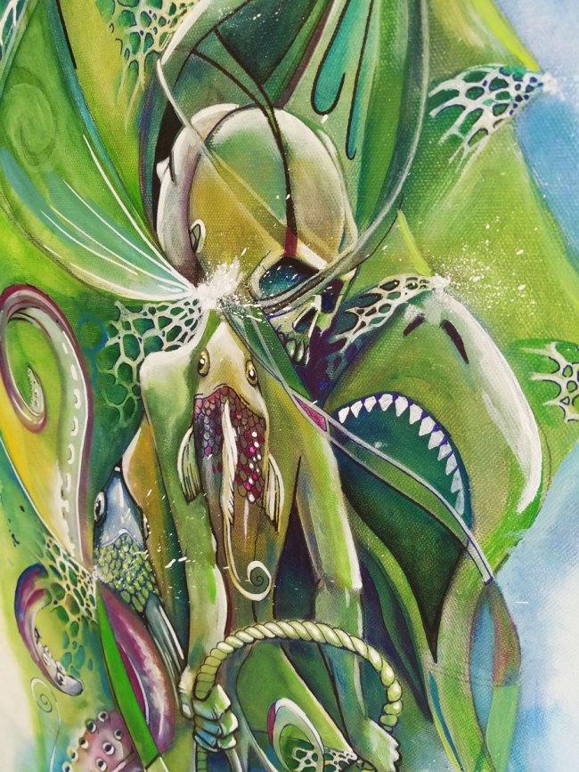 Undertow   Totem Series   Original Painting by Miles Davis   Massive Burn Studios Art