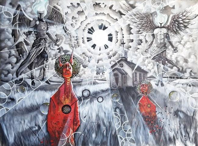 Gravitas at the Gates   Original Painting by Miles Davis   Massive Burn Studios Art