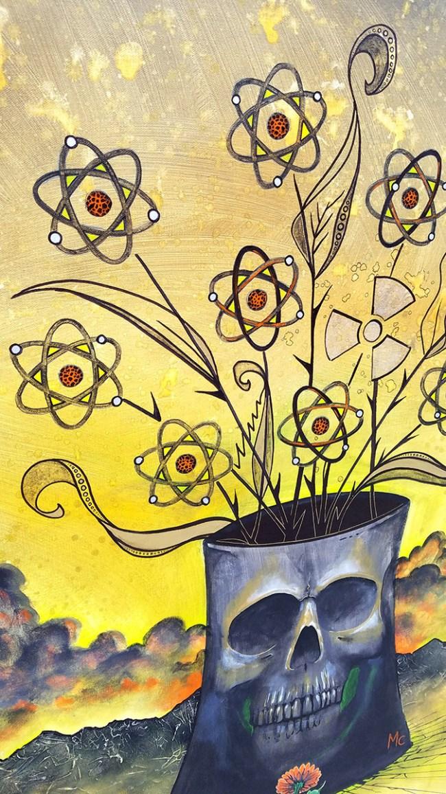 Detail of Hope of Conrad's Bouquet   Original Painting by Miles Davis   Massive Burn Studios