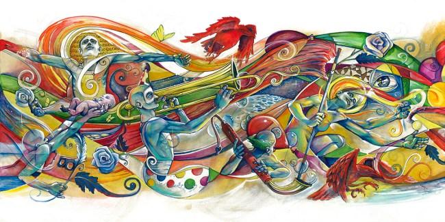 March of Life I | Original Painting by Pop-Surrealist Artist Miles Davis | Massive Burn Studios