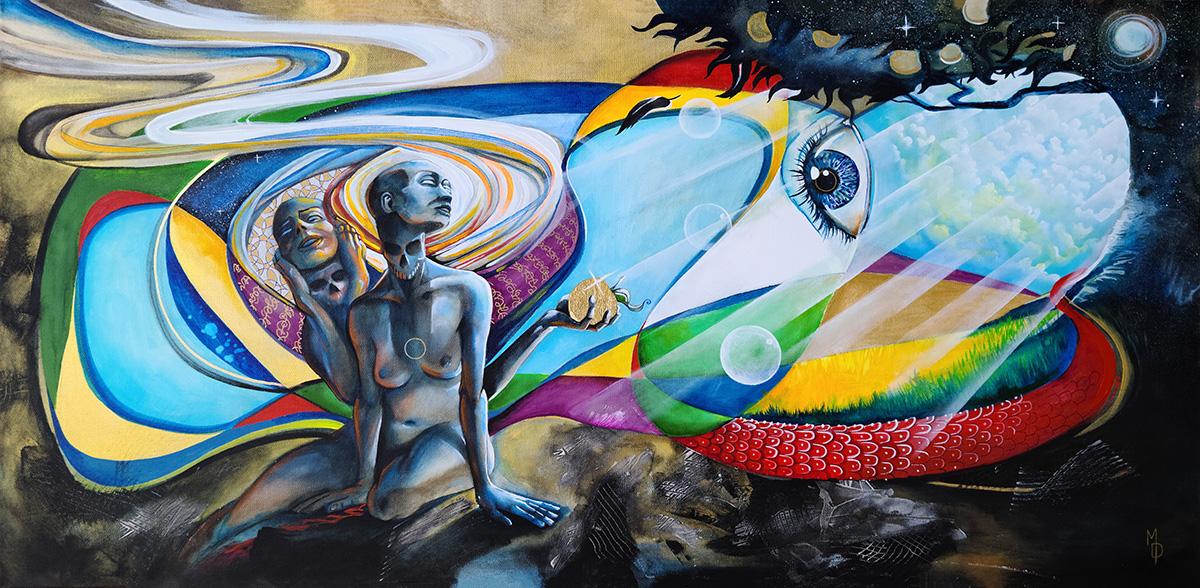 Fall of Eve | Original Artwork by Surreal Artist Miles Davis | Massive Burn Studios