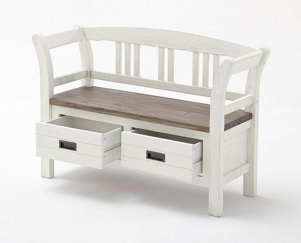 Dielenbank Akazie Weiß Vintage Sitzbank Shabby-chic