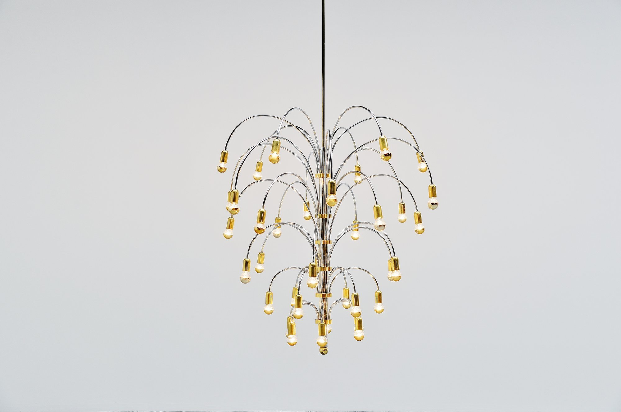 Extra Large Chandelier In Chrome And Brass Italy