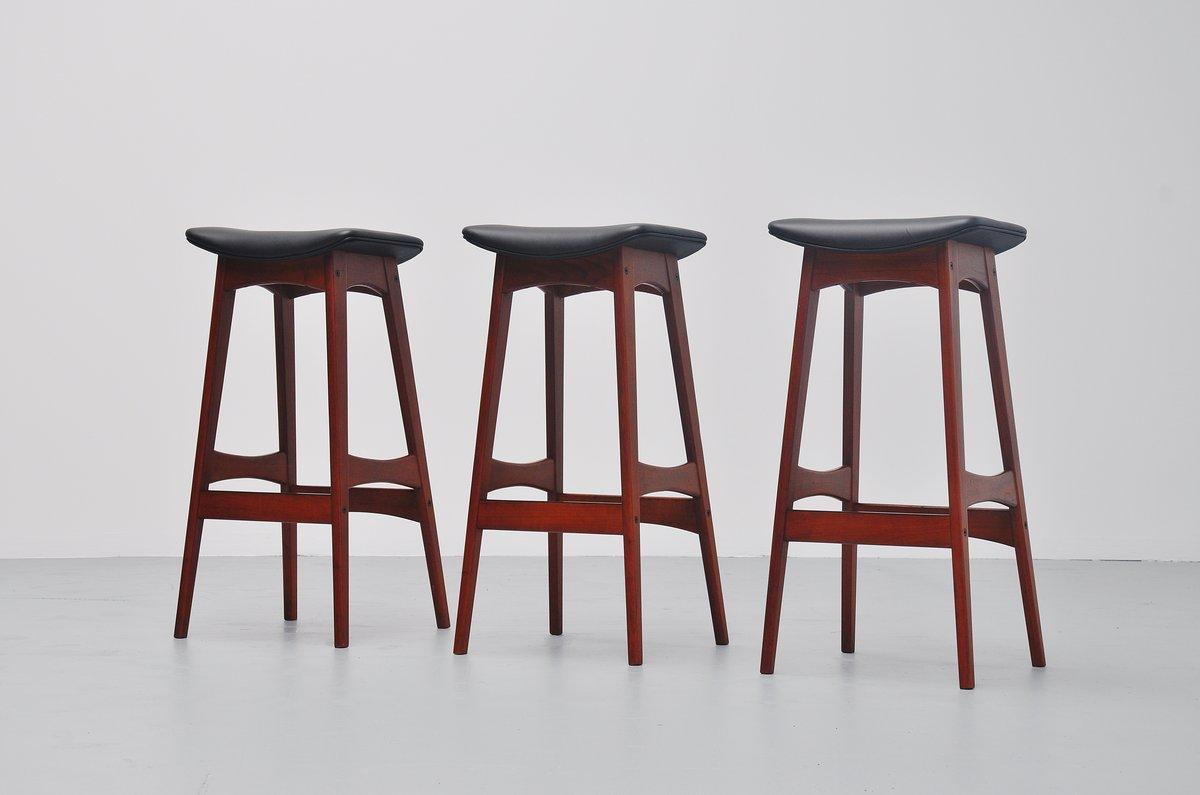 Johannes Andersen Teak Bar Stools Black Leather Denmark 1961 Massmoderndesign