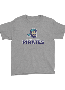 Pirates Primary Unisex Youth T-Shirt- Heather Light Gray