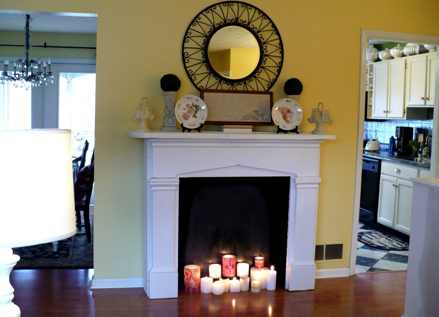 Conditional decorative fireplace