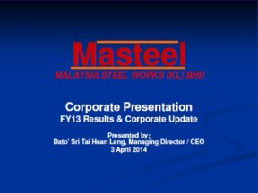 Masteel FY13 Slides Cover