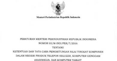 Peraturan Menteri Perindustrian 65/M-IND/PER/7/2016