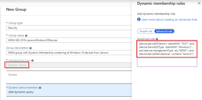 Azure AD create Dynamic group