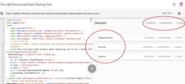 Screenshot of Google's Structured Data Testing Tool showing what structured data was detected by Google. For this example, Organization and Article schema was detected with no errors.