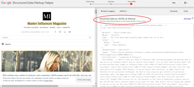 Screenshot of Google's Structured Data Markup Helper showing you how to generate JSON-LD Code after tagging.