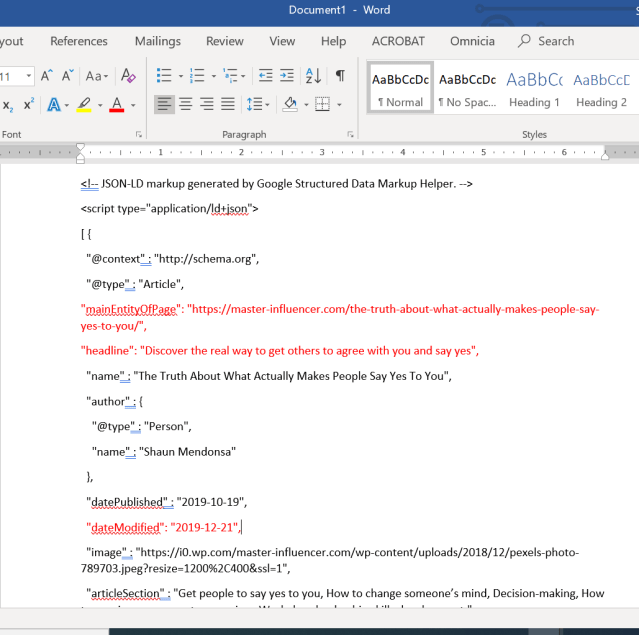 Screenshot of structured data errors being fixed in Microsoft Word. Structured data errors are shown in red text.