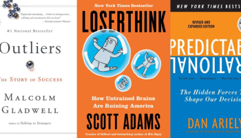 Cover pages of the best books to read during quarantine. Outliers, the story of success, Loserthink, how untrained brains are ruining America, Predictably irrational, the hidden forces that shape our decisions.