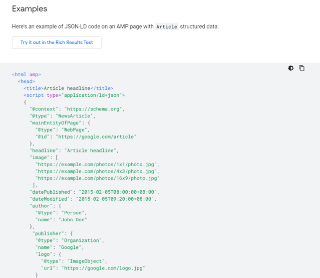 Screenshot of Google's structured data examples for NewsArticle JSON-LD code