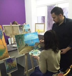 Как рисовать начинающим на мастер классе маслом с художником