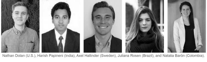 This year's CFA Research Challenge team is made up of Nathan Dolan (U.S.), Harish Papineni (India), Axel Hallinder (Sweden), Juliana Rosen (Brazil), and Natalia Barón (Colombia).