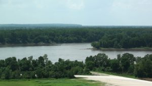 The Missouri (on left) and the Mississippi Rivers