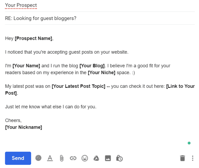 Guest blogging email template