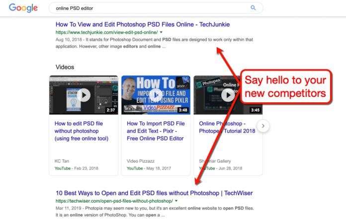 Google Online PSD Editor SERP
