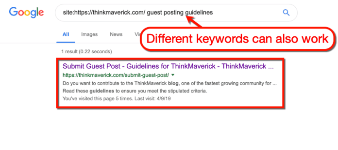 Google SERP with Different Keywords