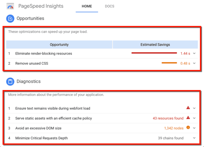 PageSpeed Insights Recommendations