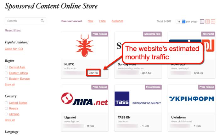PRNews Sponsored Marketplace Traffic Preview