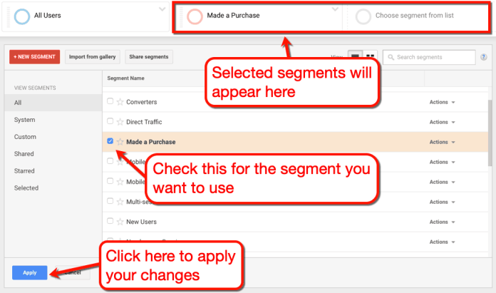 Selected Segments Page