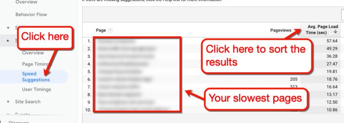 Google Analytics Speed Suggestions