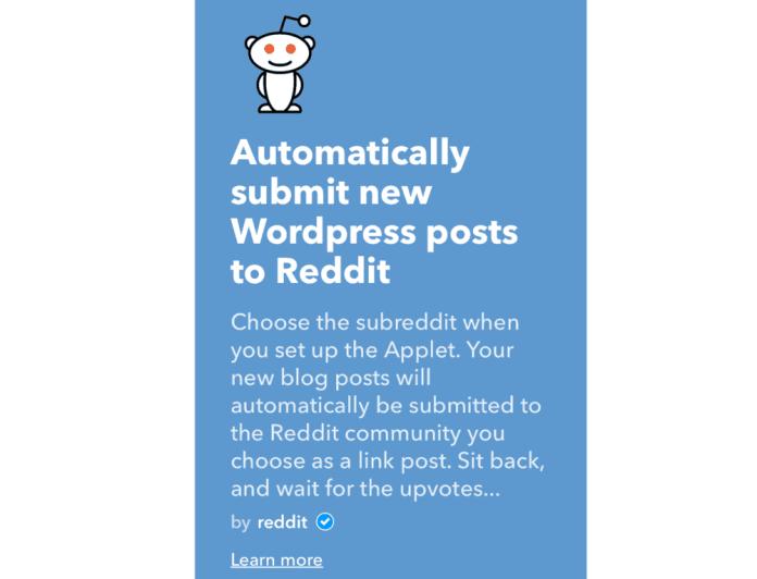 WordPress to Reddit Applet