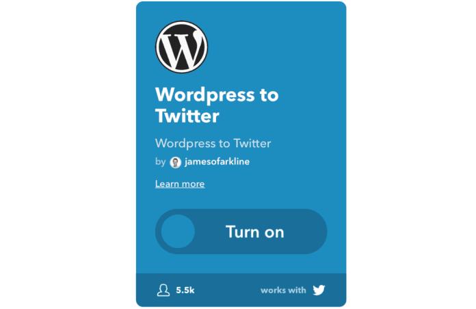 WordPress to Twitter Applet