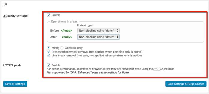 JS Minification Settings
