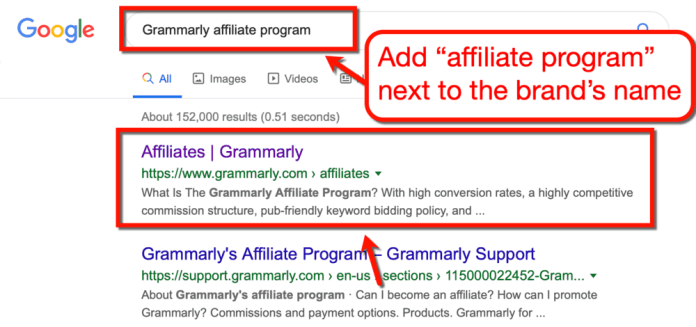 Grammarly Affiliate Program Google SERP