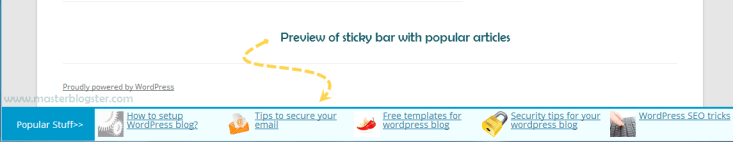 popular articles of wordpress blog in sticky footer