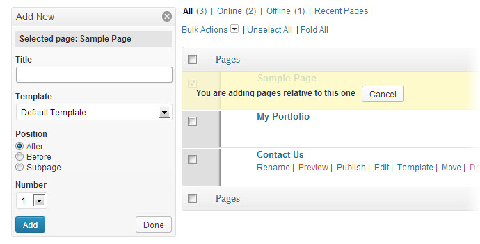 add bulk new pages to wordpress