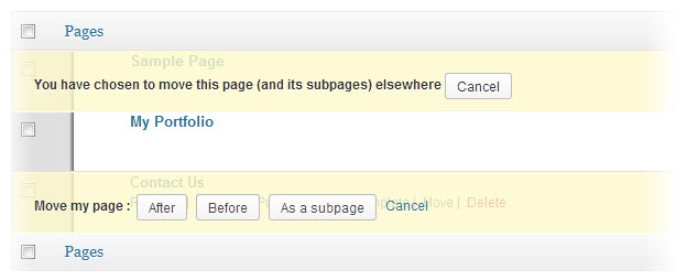 easily move wordpress pages