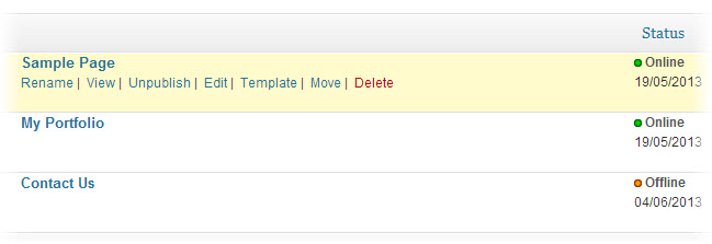 wordpress page status