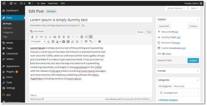 wordpress 3.8 editor