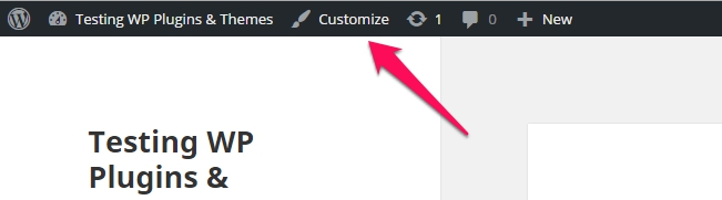 customizer in admin bar