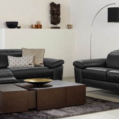 Three Seater Recliner Sofa Without Back Cushions Natuzzi Editions Claudio Black Leather 3 Power & 2 ...