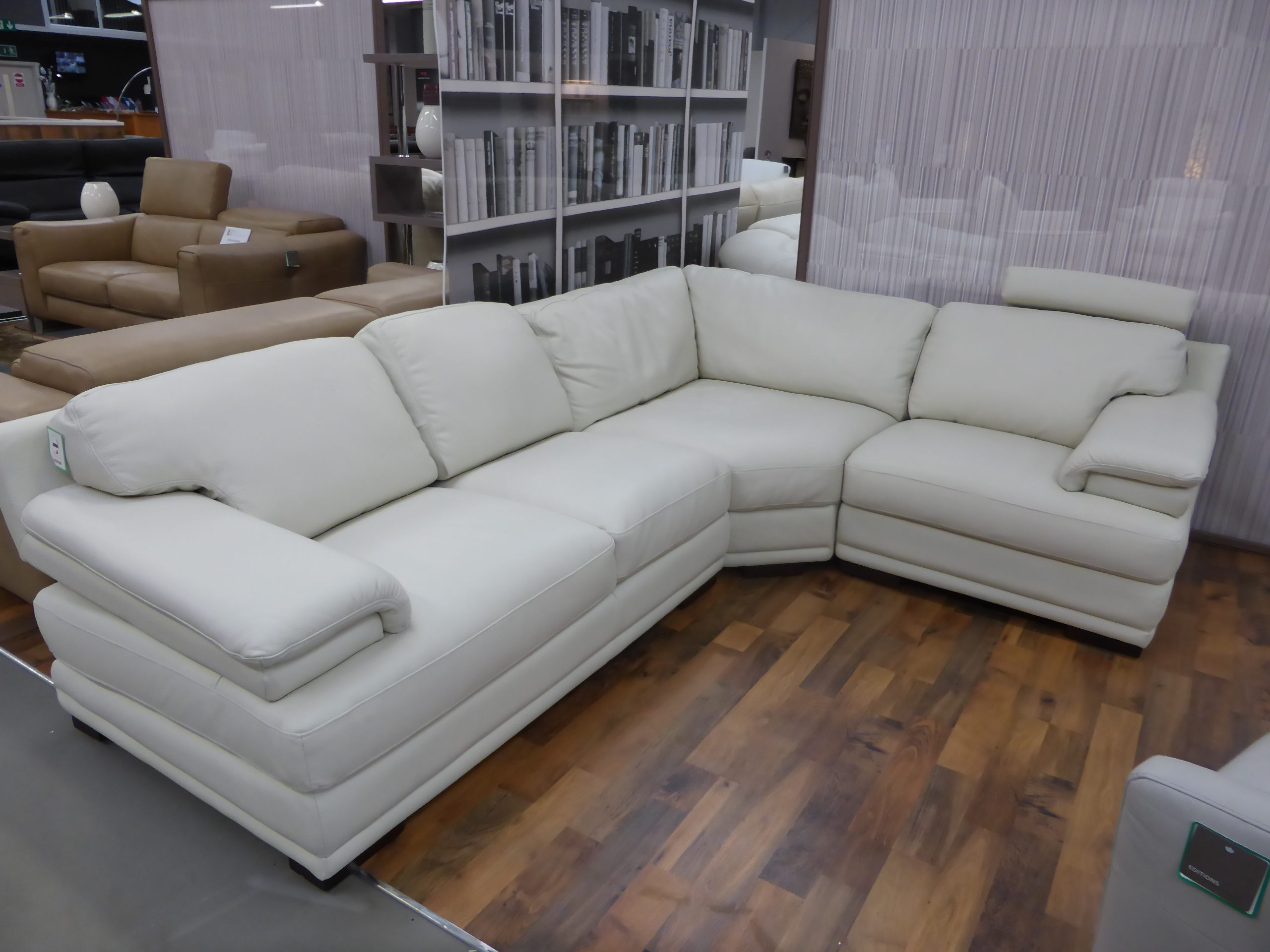 real leather corner sofas uk kuka sectional sofa genuine italian with headrests
